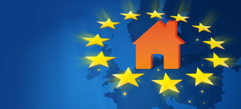 orange house surrounded by yellow stars on front of a map of Europe colored in blue in the background