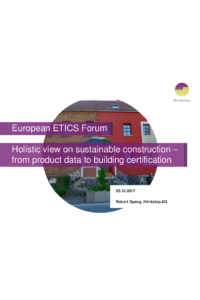 Holistic view on sustainable construction – from product data to building certification